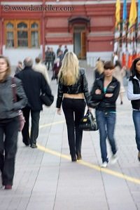 Blonde walking away.